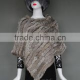High quality genuine triangle rabbit fur knitting shawl cape for winter