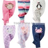embroidered animal 100% cotton infant baby pants