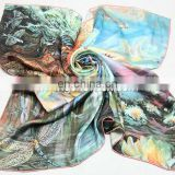 Ladies digital print silk scarf,custom bandana