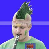 Black mohawk wig with black band for sport events rally hawks
