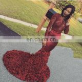 New Fashion Elegant Red Lace Jewel Sweep Train Mermaid Sequins Appliqued Long Prom Dress Evening Dress