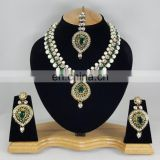 Western Designer Beautiful Pearl Crystal Green Stone Gold Plated Wedding Collection Kundan Zerconic Necklace set