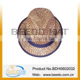 2014 Cheaper fedora straw hat made by mat grass