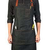 Lightweight denim tool apron with many pockets