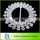 Round Flower shape crystal rhinestone buckles for wedding invitations,Wedding chair sash buckle,chair cover ribbon slider