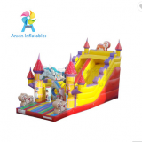 New design inflatable sliding slide aladdin with obstacle jumping areas