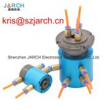 Rotary unions slip ring with centre hole 30mm, 2 in 2 out joint G1/8 with electrical wires