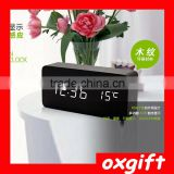 OXGIFT A screen Dual display Office desk decoration Fashion Led Wooden Alarm clock - Rectangle