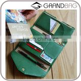 wholesale saffiano cow leather airline ticket holder money clip 3 fold passport holder wallet purse