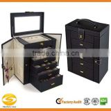 Huge Leather Jewelry Box Display Case Storage box with drawers