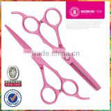 Pink Teflon Coating Convex-edge Stainless Steel barber scissors set