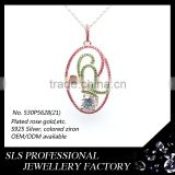 Competitive price 925 silver jewelry colored stones micro paved jewelry beautiful charms for ladies