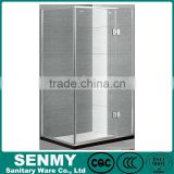 Guangdong square 90*90 or 100*100 aluminium frame matte glass outside opened 3 panel easy clean glass plastic shower enclosure