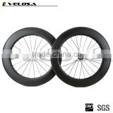 Velosa Straight Pull 88mm Clincher Road Carbon Bike wheels Racing Bicycle carbon Wheelset Powerway Hubs fast shipping!