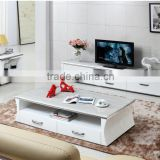 2015 custom white marble and wooden TV cabinet LCD stand