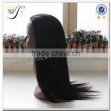 Wholesale Fast Delivery Top Quality Natural Black Color Silky Straight 100% Virgin Human Hair Silk Base Full Lace Wig