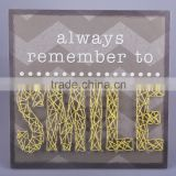 hand made wooden string wall art with the smile letters design for home decoration                                                                         Quality Choice