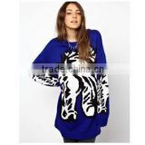 2014 new arrival more fashion plus size loose crew neck woolen sweater new designs for ladies