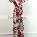 Summer Sexy Package Hip Maxi V-neck Short Sleeve Printed Long Dress With Belt Women Dress