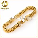 fashion men bracelet 316 l stainless steel braid link chain gold chunky chain bracelet