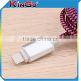 Wholesale USB Metal Shell Sync Charging Cable With Round Cable Pink and Black Weave Date Cable Phone Accessories