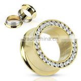 2014 Ear Piercing Gold Plated Threaded Tunnel With Jeweled Rim