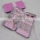 12 in 1 Nail Care Gift Set Cutter Cuticle Clipper Manicure Pedicure Kit Case pink color for lady