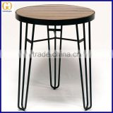 Cafe /restaurant wooden round dining table, outdoor wire base wooden top table