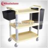 Restaurant Plastic 3 Tier Food Service Collection Cart/Catering Delivery Trolley/Dining Plate Cart