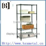 Newest chrome 5 plated wire grid shelving display rack HSX-428 standing storage shelf