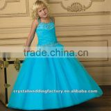 Turquoise beaded appliqued ruched ball gown flower custom-made girls pageant dresses CWFaf4882