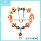 Fashion Colored Man-made Orange Bead Alloy Accessories Bracelet Jewelry Made In China Wholesale