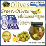 Fresh Green Olives with Cayenne Peppers & Lemon, High Quality Tunisian Table Olives,Table Green Olives 370 ml Glass Jar