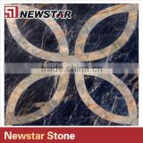 Newstar Black And Gold Marble Waterjet Floor Medallion Tile For Sale Mosaic