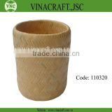 Natural bamboo waste basket