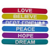 hot sell fashionable silicone slap bracelets with printed logo