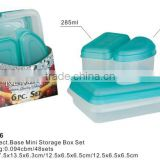 PP Food Container, PP Storage box, 6pcs Rect. Base Mini Storage Box Set
