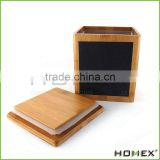 Fashion Design Bamboo Storage Box With Blackboard Homex_BSCI/ SGS