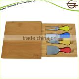 Best price food safe Bamboo cheese cutting board with knife set