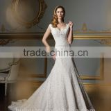 sexy deep v neck strap full lace ball gown wedding dress robe de mariage