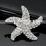 White starfish rhinestone brooch mini clear starfish rhinestone 2016 Bridal crystal starfish rhinestone brooch for wedding