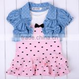 Baby Girl's Kids Lovely Cute 2PCS Set heart pattern Short Denim Jacket + Dress clothes set 20148