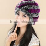rex rabbit fur hats Fur Striped Knitted cap for women Genuine Rabbit Fur Hat Cap winter warms hats