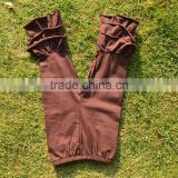 wholesale casual ruffle pants triple ruffle girls knit fashion pants cotton baby brown plain tight pants girls ruffle leggings