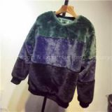 Men Faux Fur Sweater In Patchwork Colors