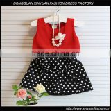Wholesale Girls Latest Party Wear Suits Design For Baby Kids Boutique Clothing Chiffon Tops + Polka Dot Skirts 2pcs Sets