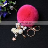 2016 China Promotional Bag Charm Genuine Rabbit Fur Copenhagen Rabbit Pendant Handmade Bunny Accessory