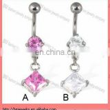 New arrive !! Big gems piercing jewelry Belly button ring with dangling square gems body navel ring in stainless steel