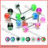 free sample tongue rings tongue barbell with leaf logo balls piercing body jewelry