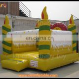 Hot sell inflatable birthday cake party castle, inflatable jumper house, inflatable bouncy castle with candles